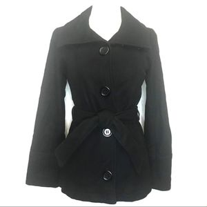 dELiA's wool black belted button pea coat jacket